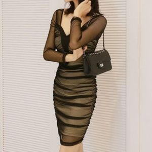 Long-Sleeve Mini Bodycon Mesh Dress - Medium